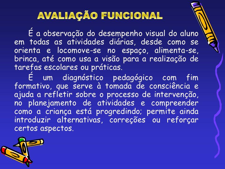 É a observação do desempenho visual do aluno em todas as atividades diárias, desde como se orienta e locomove-se no espaço, alimenta-se, brinca, até c