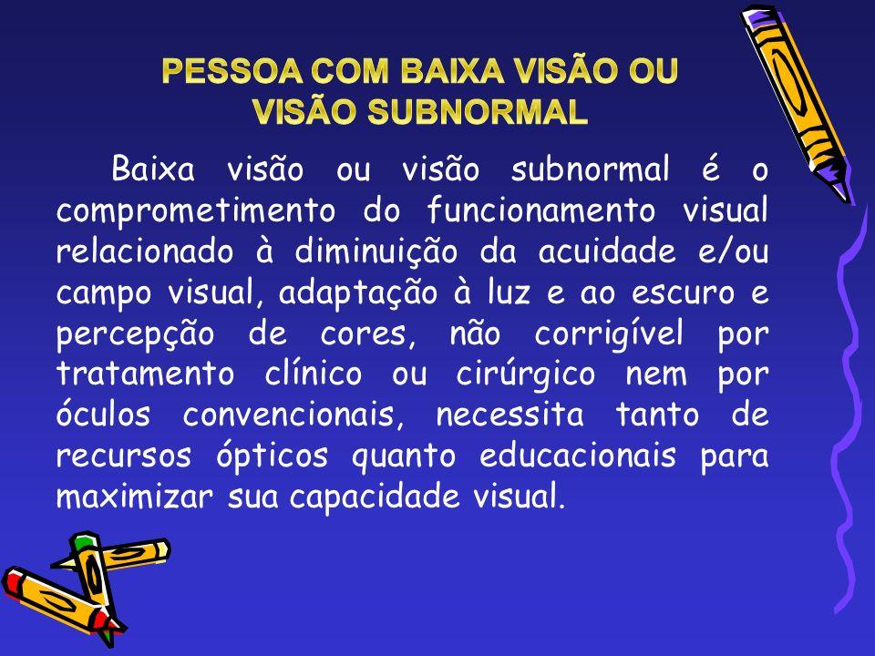 São características da baixa visão: - baixa acuidade visual; - anomalias no campo visual; - disfunções relacionadas à deficiência nas percepções das cores; - inadaptação à iluminação ambiente.