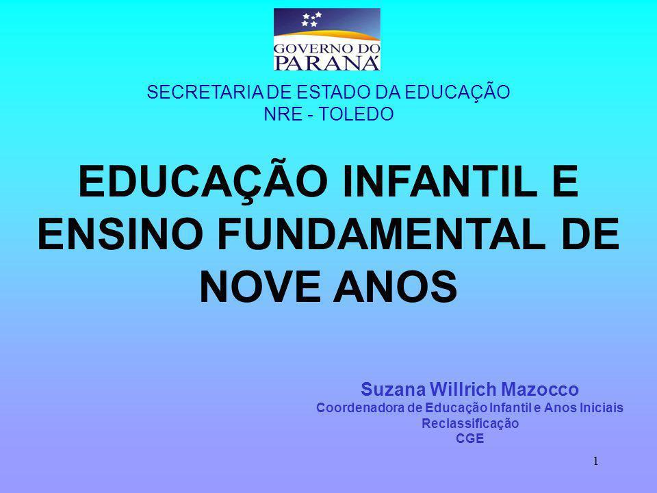 1 EDUCAÇÃO INFANTIL E ENSINO FUNDAMENTAL DE NOVE ANOS Suzana Willrich Mazocco Coordenadora de Educação Infantil e Anos Iniciais Reclassificação CGE SECRETARIA DE ESTADO DA EDUCAÇÃO NRE - TOLEDO