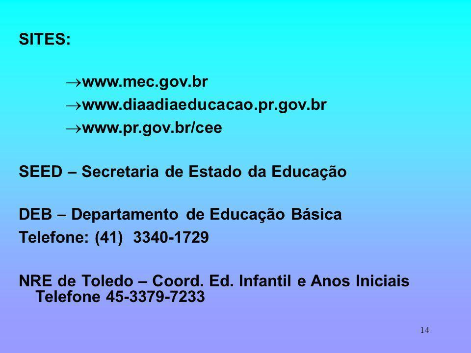 14 SITES: www.mec.gov.br www.diaadiaeducacao.pr.gov.br www.pr.gov.br/cee SEED – Secretaria de Estado da Educação DEB – Departamento de Educação Básica Telefone: (41) 3340-1729 NRE de Toledo – Coord.