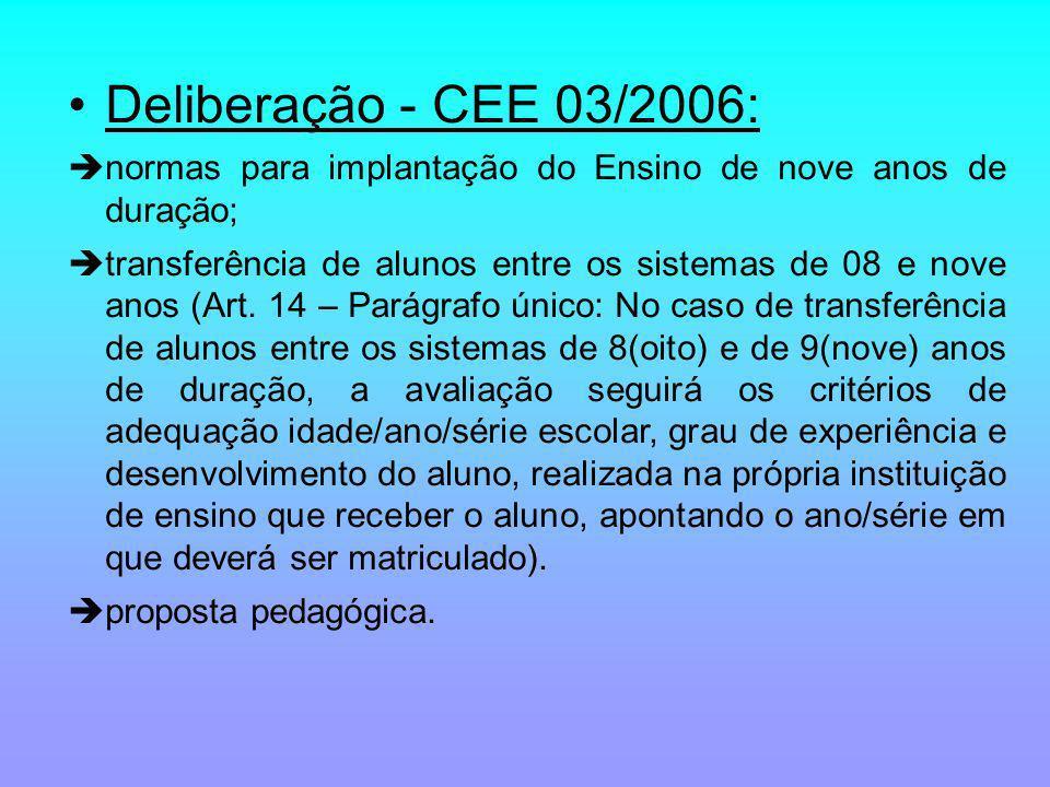 Deliberação - CEE 03/2006: normas para implantação do Ensino de nove anos de duração; transferência de alunos entre os sistemas de 08 e nove anos (Art.