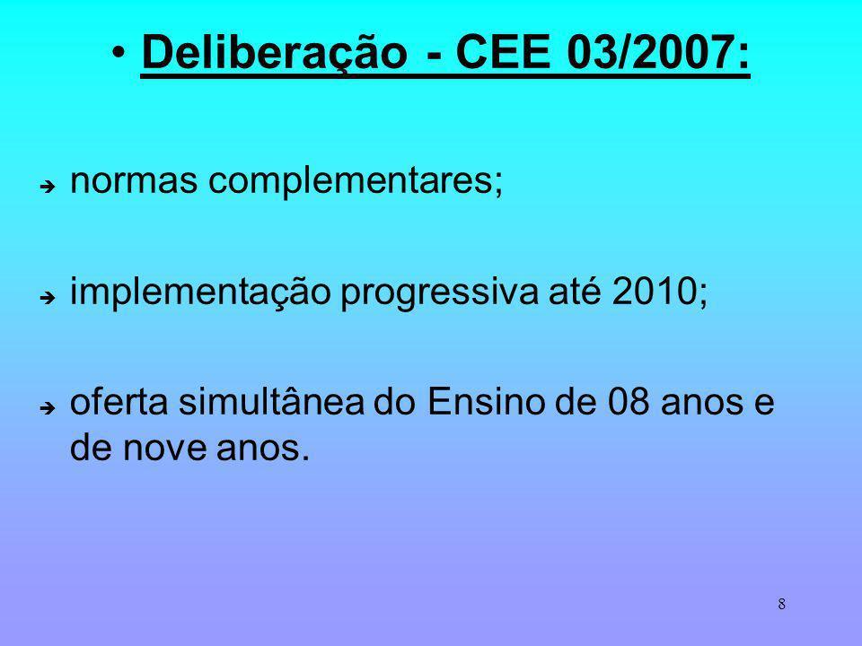 8 Deliberação - CEE 03/2007: normas complementares; implementação progressiva até 2010; oferta simultânea do Ensino de 08 anos e de nove anos.