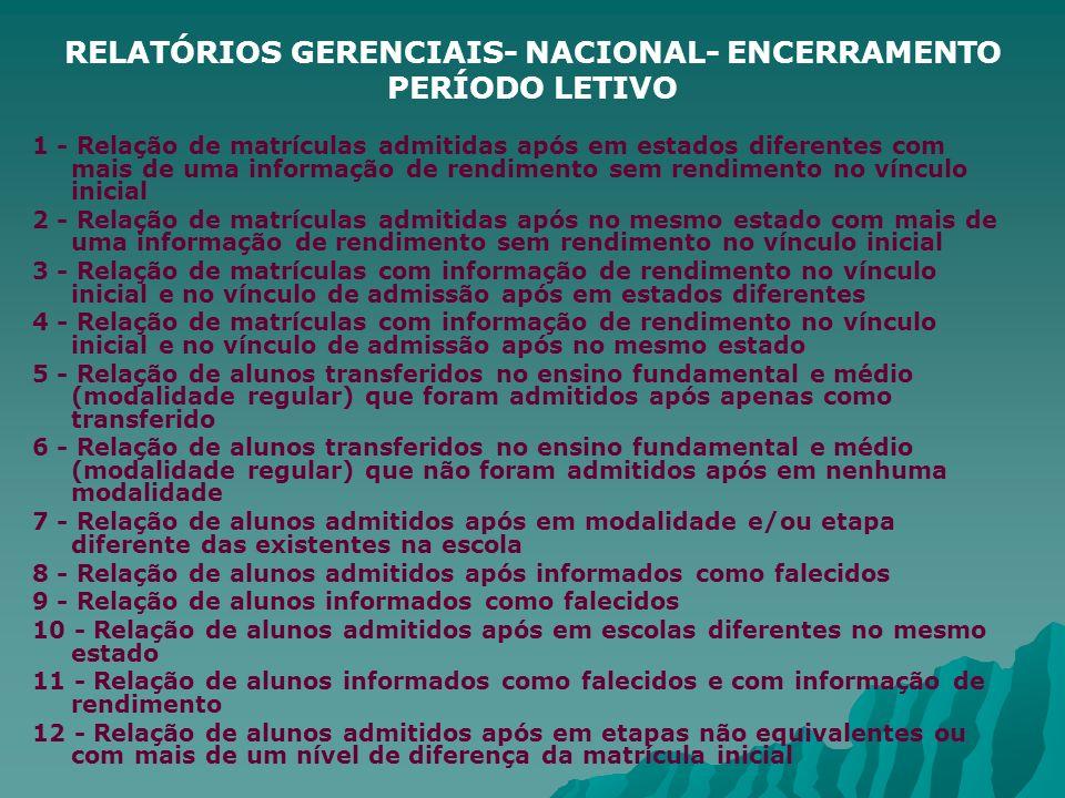 RELATÓRIOS GERENCIAIS- NACIONAL- ENCERRAMENTO PERÍODO LETIVO 1 - Relação de matrículas admitidas após em estados diferentes com mais de uma informação