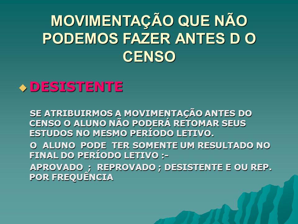 RELATÓRIO FINAL DE VALIDAÇÃO DE INFORMAÇÕES RENDIMENTO E MOVIMENTO ESCOLAR-IDEB RELATÓRIO FINAL DE VALIDAÇÃO DE INFORMAÇÕES RENDIMENTO E MOVIMENTO ESCOLAR-IDEB ENSINO MÉDIO SÉRIE / TURNO AP REP ABANDONO ADMITIDO POR TRANSFERÊNCIA TRANSFERÊNCIA EXPEDIDA APÓS TRANSFERÊNCIA EXPEDIDA APÓS APÓS 26/05/2010 26/05/2010 APÓS 26/05/2010 26/05/2010 1ªSérie / Manhã 94 28 4 0 0 1ª Série / Noite 11 5 18 0 0 2ª Série / Manhã 51 19 1 0 0 2ª Série / Noite 10 5 13 0 0 3ª Série / Manhã 45 8 4 0 0 3ª Série / Noite 24 21 0 0 0 Total 235 67 50 0 0