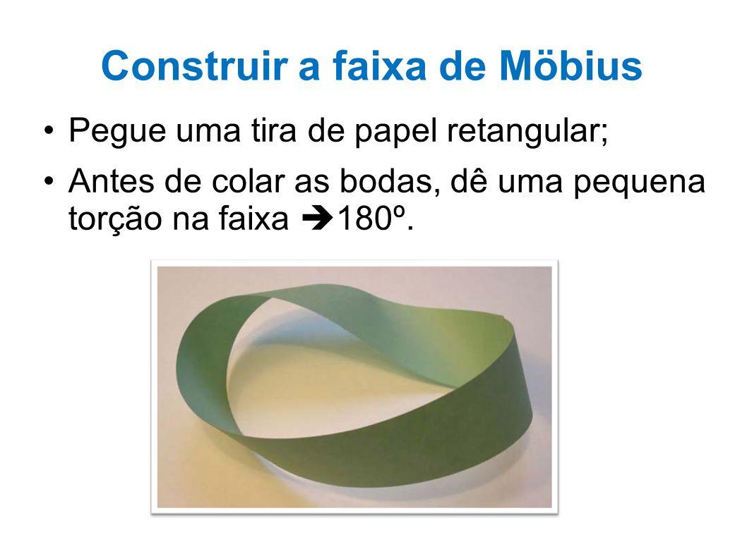 Construir a faixa de Möbius Pegue uma tira de papel retangular; Antes de colar as bodas, dê uma pequena torção na faixa 180º.