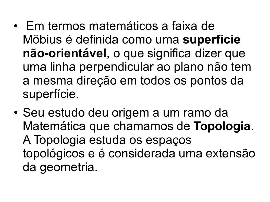 Em termos matemáticos a faixa de Möbius é definida como uma superfície não-orientável, o que significa dizer que uma linha perpendicular ao plano não