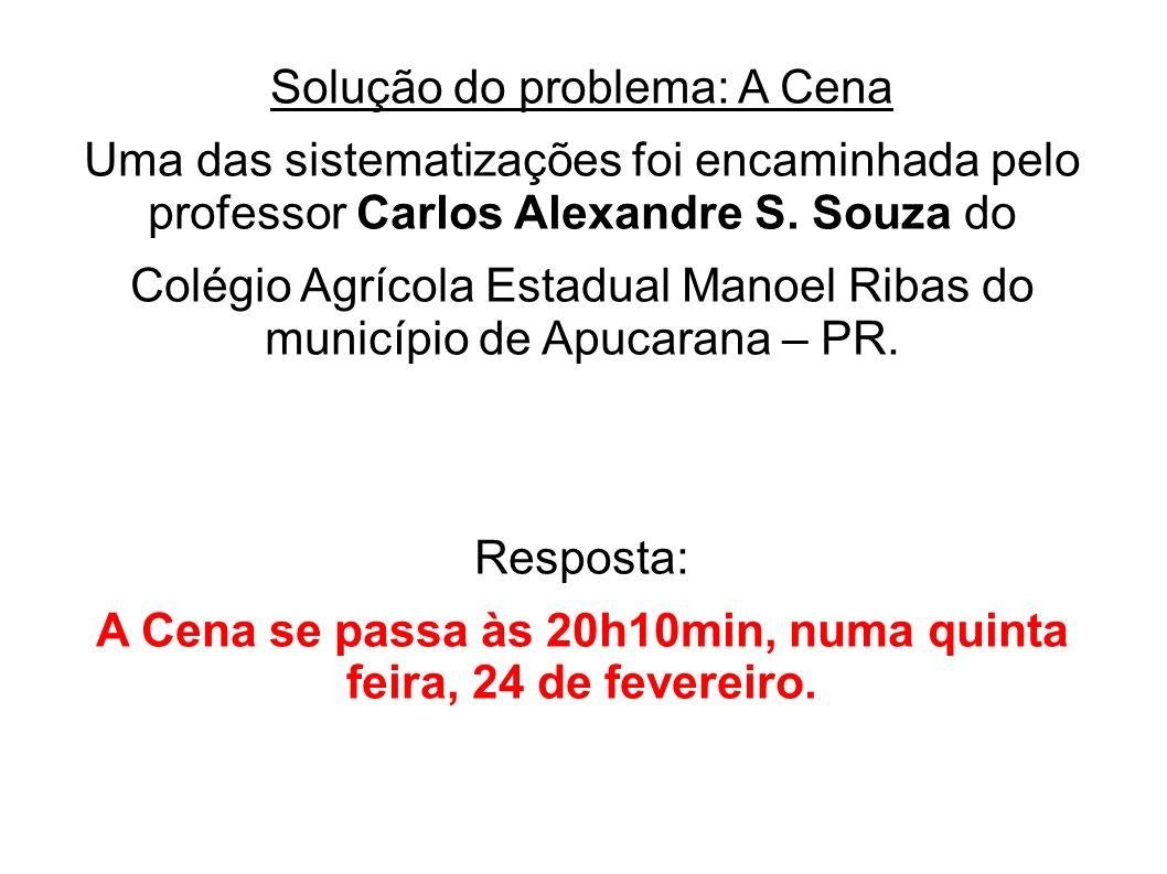 Solução do problema: A Cena Uma das sistematizações foi encaminhada pelo professor Carlos Alexandre S. Souza do Colégio Agrícola Estadual Manoel Ribas