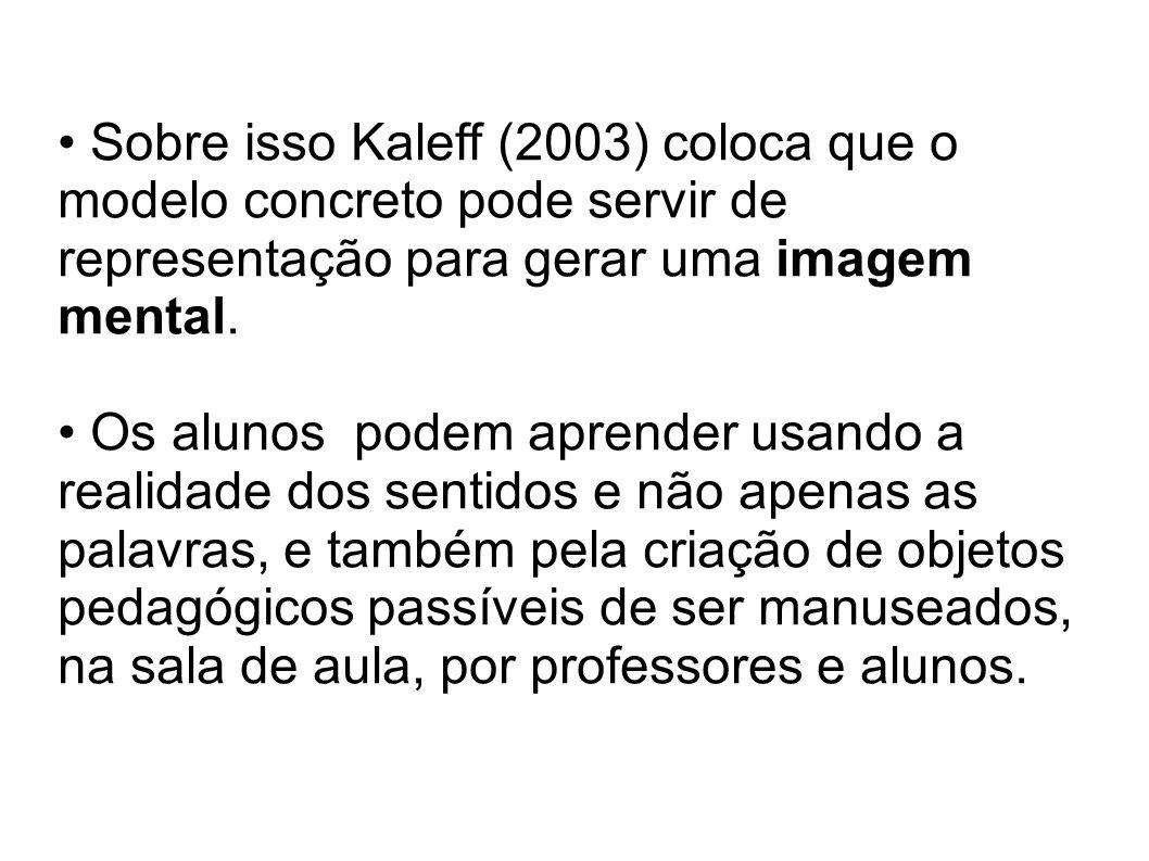 Sobre isso Kaleff (2003) coloca que o modelo concreto pode servir de representação para gerar uma imagem mental. Os alunos podem aprender usando a rea