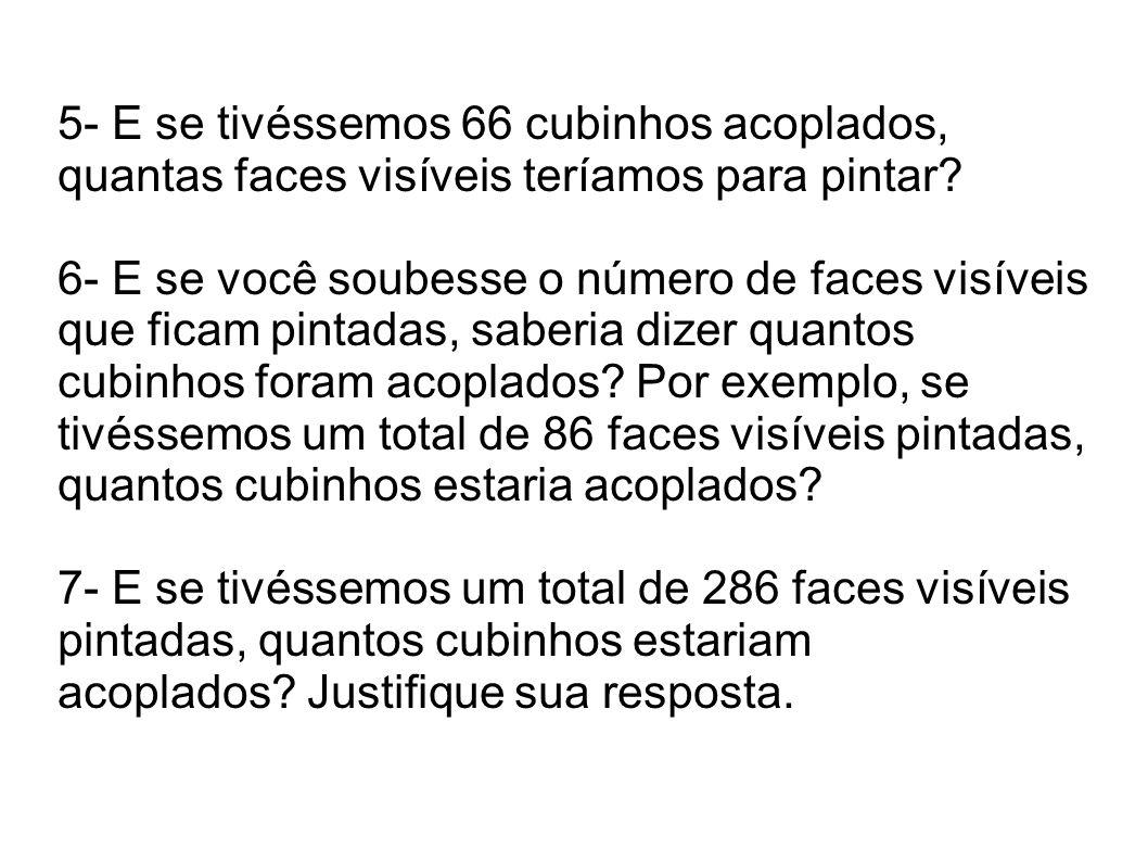 5- E se tivéssemos 66 cubinhos acoplados, quantas faces visíveis teríamos para pintar? 6- E se você soubesse o número de faces visíveis que ficam pint