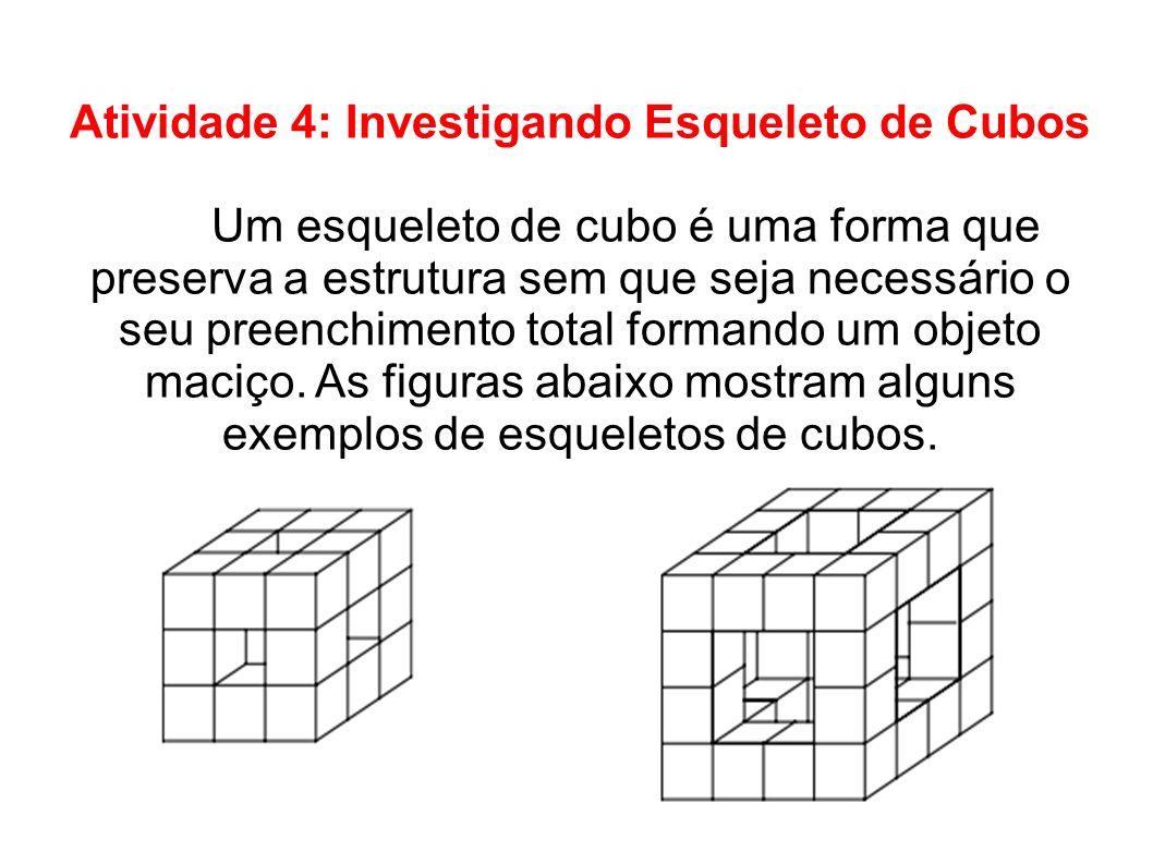 Atividade 4: Investigando Esqueleto de Cubos Um esqueleto de cubo é uma forma que preserva a estrutura sem que seja necessário o seu preenchimento tot