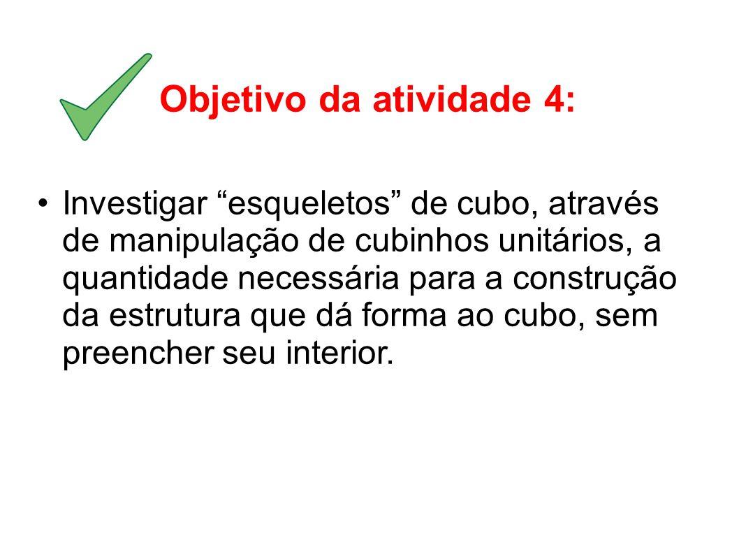 Objetivo da atividade 4: Investigar esqueletos de cubo, através de manipulação de cubinhos unitários, a quantidade necessária para a construção da est