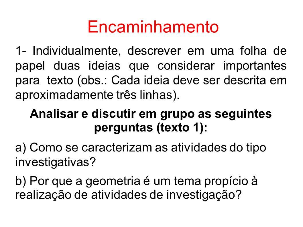Encaminhamento 1- Individualmente, descrever em uma folha de papel duas ideias que considerar importantes para texto (obs.: Cada ideia deve ser descri