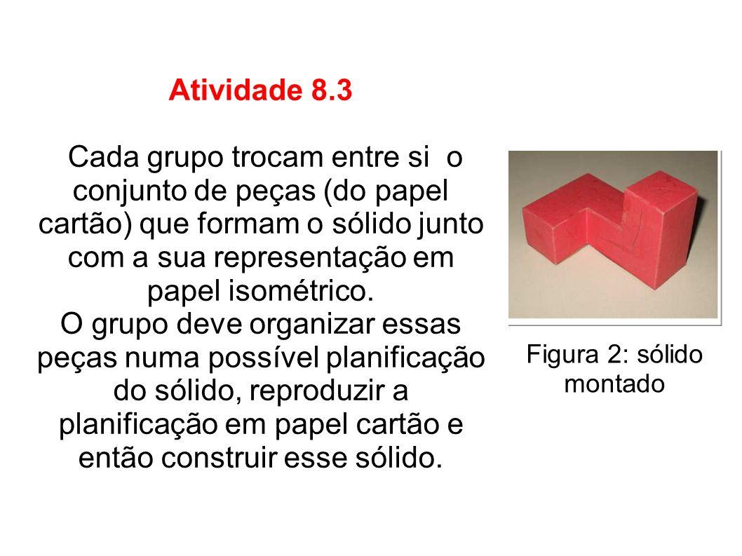 Atividade 8.3 Cada grupo trocam entre si o conjunto de peças (do papel cartão) que formam o sólido junto com a sua representação em papel isométrico.