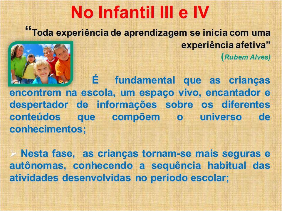 No Infantil III e IV Toda experiência de aprendizagem se inicia com uma experiência afetiva ( Rubem Alves) Toda experiência de aprendizagem se inicia