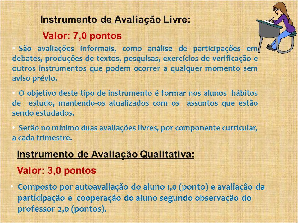 Instrumento de Avaliação Livre: Valor: 7,0 pontos São avaliações informais, como análise de participações em debates, produções de textos, pesquisas,