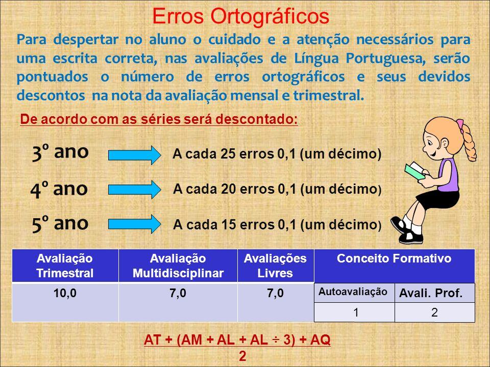 Erros Ortográficos Para despertar no aluno o cuidado e a atenção necessários para uma escrita correta, nas avaliações de Língua Portuguesa, serão pont