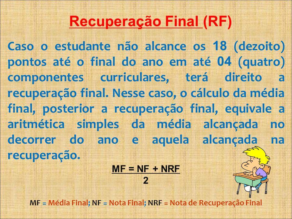 Recuperação Final (RF) Caso o estudante não alcance os 18 (dezoito) pontos até o final do ano em até 04 (quatro) componentes curriculares, terá direit