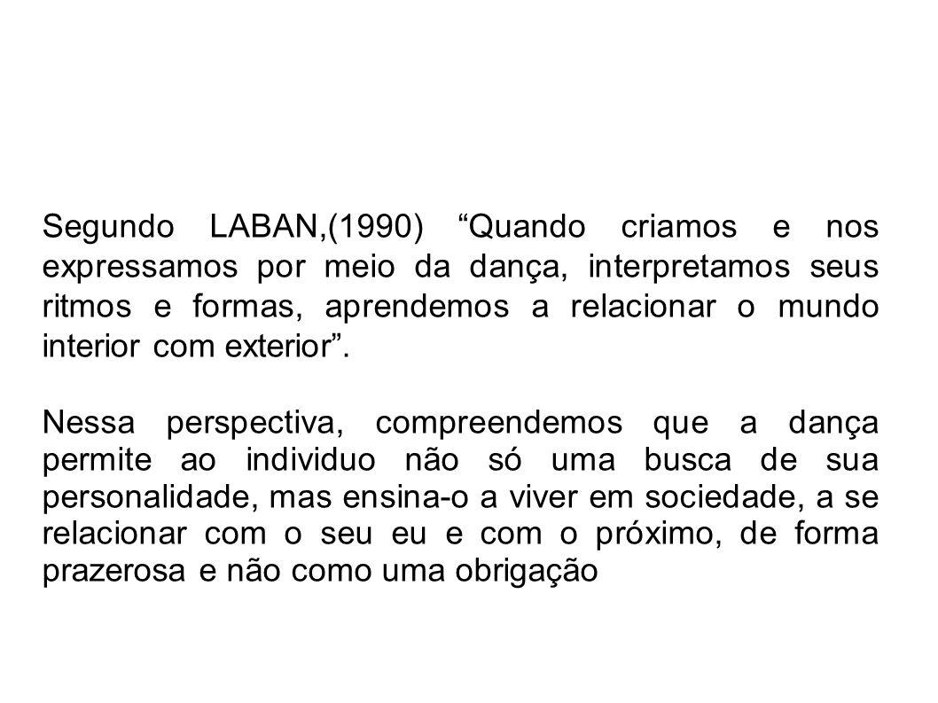 Segundo LABAN,(1990) Quando criamos e nos expressamos por meio da dança, interpretamos seus ritmos e formas, aprendemos a relacionar o mundo interior com exterior.