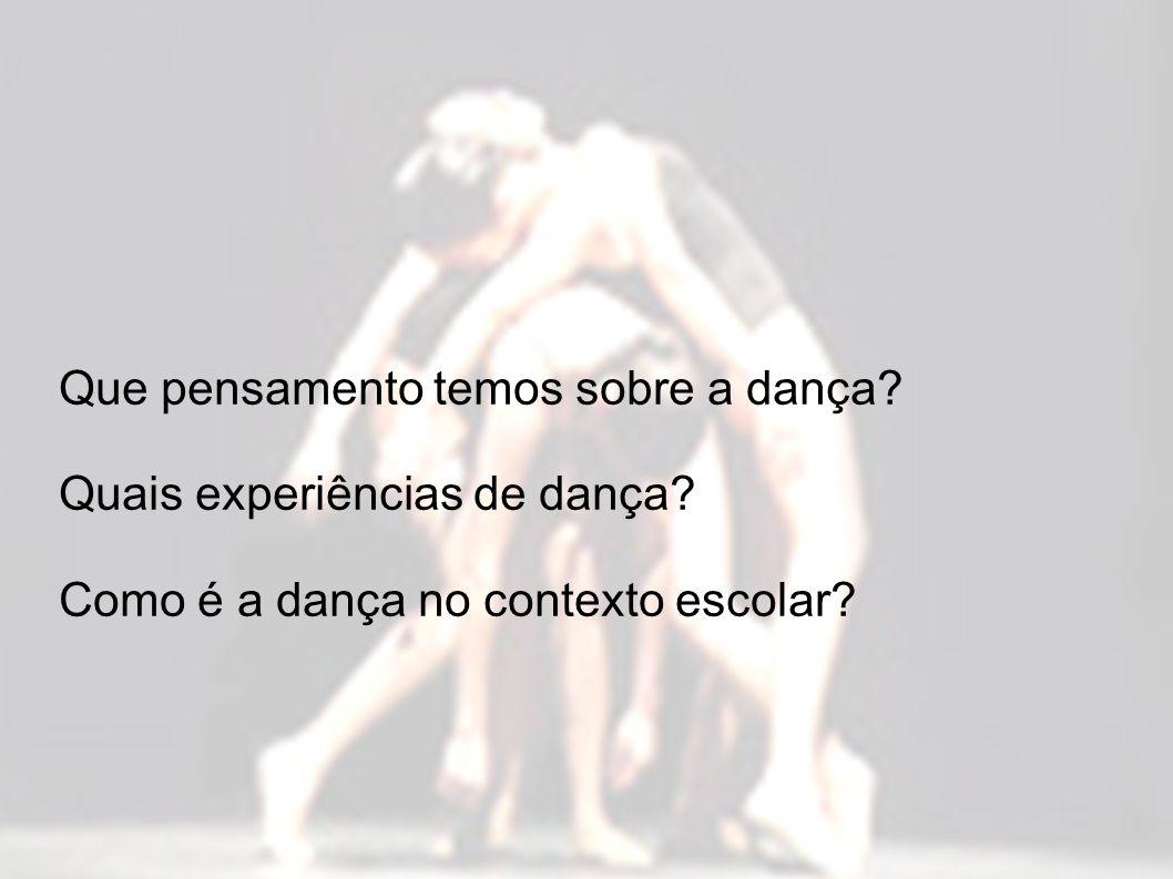 Que pensamento temos sobre a dança. Quais experiências de dança.
