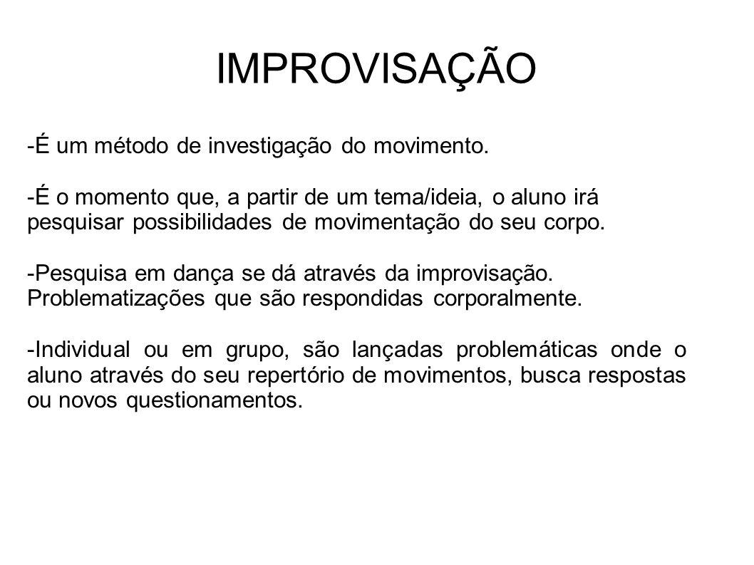 IMPROVISAÇÃO -É um método de investigação do movimento.