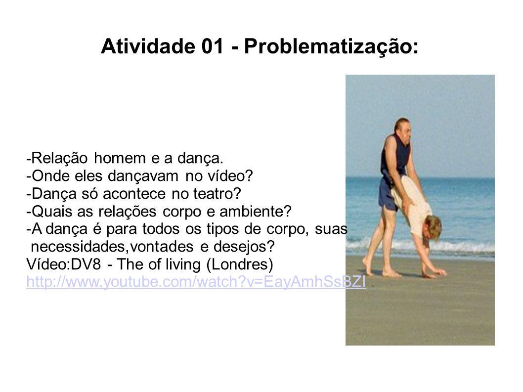 Atividade 01 - Problematização: - Relação homem e a dança.
