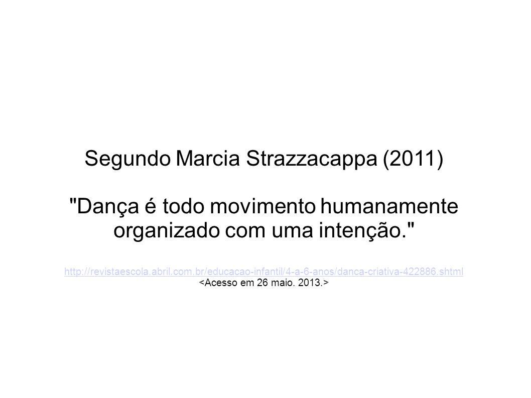 Segundo Marcia Strazzacappa (2011) Dança é todo movimento humanamente organizado com uma intenção. http://revistaescola.abril.com.br/educacao-infantil/4-a-6-anos/danca-criativa-422886.shtml http://revistaescola.abril.com.br/educacao-infantil/4-a-6-anos/danca-criativa-422886.shtml