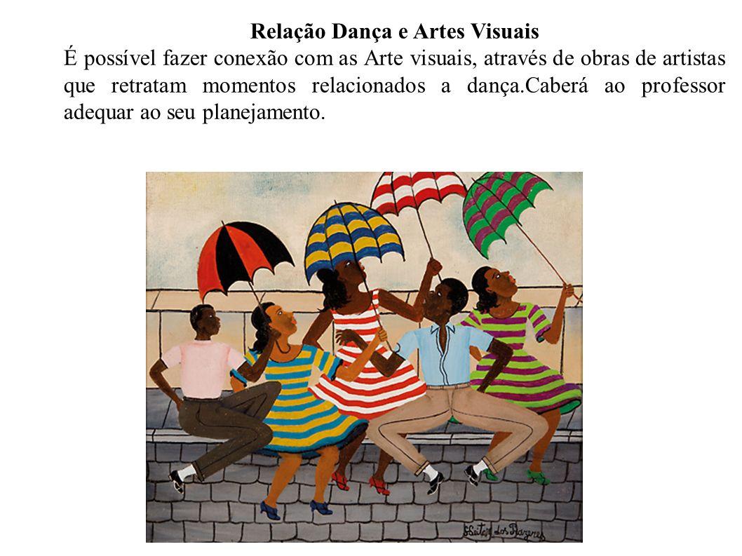 Relação Dança e Artes Visuais É possível fazer conexão com as Arte visuais, através de obras de artistas que retratam momentos relacionados a dança.Caberá ao professor adequar ao seu planejamento.