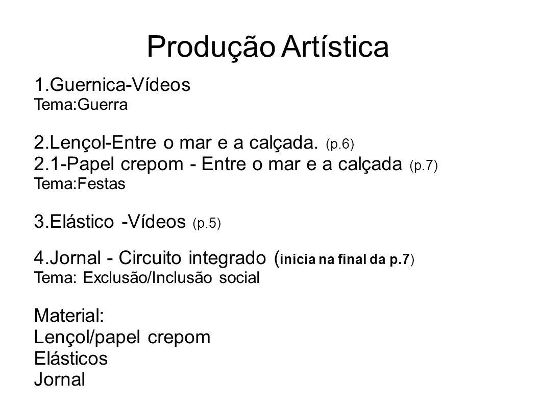 Produção Artística 1.Guernica-Vídeos Tema:Guerra 2.Lençol-Entre o mar e a calçada.
