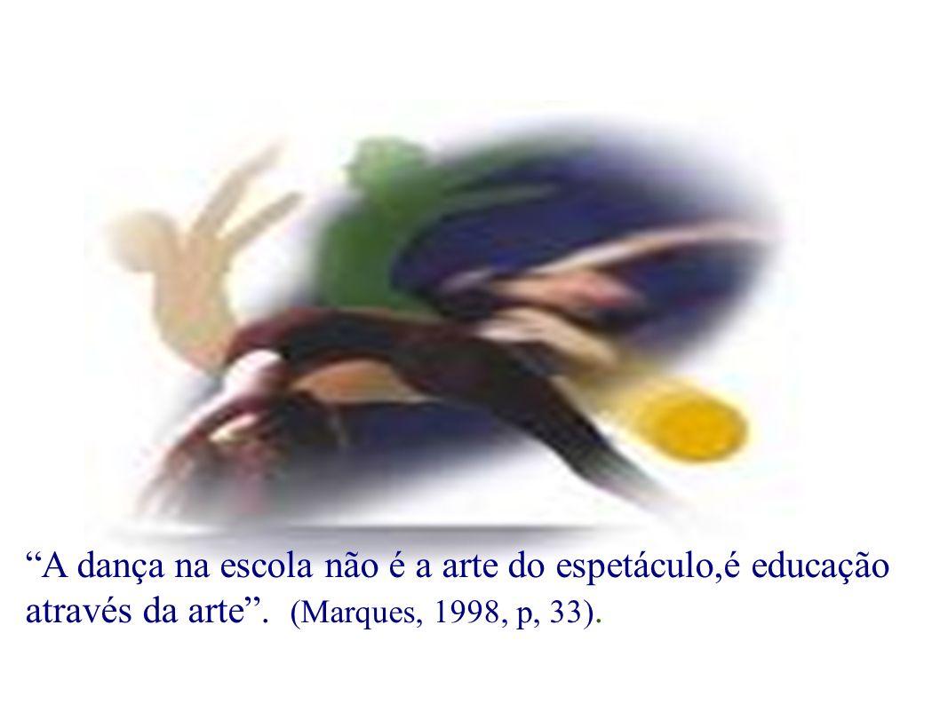 A dança na escola não é a arte do espetáculo,é educação através da arte. (Marques, 1998, p, 33).