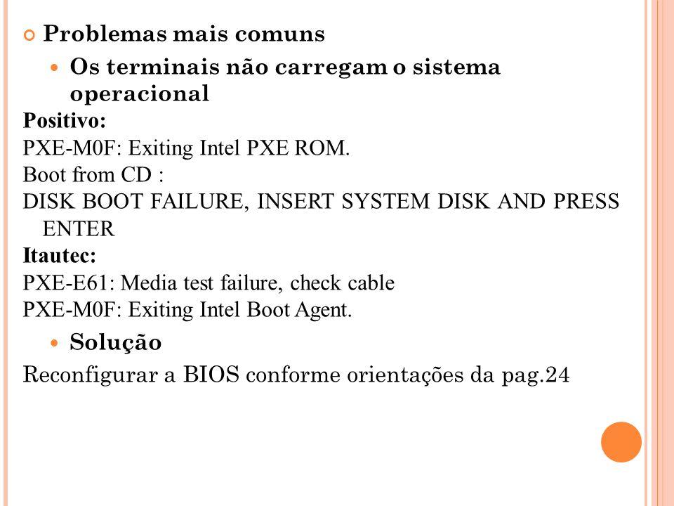Problemas mais comuns Os terminais não carregam o sistema operacional Positivo: PXE-M0F: Exiting Intel PXE ROM. Boot from CD : DISK BOOT FAILURE, INSE