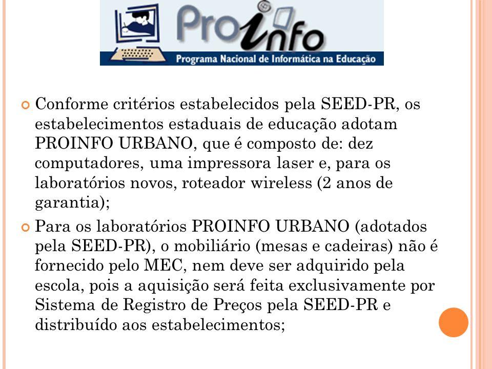 Conforme critérios estabelecidos pela SEED-PR, os estabelecimentos estaduais de educação adotam PROINFO URBANO, que é composto de: dez computadores, u