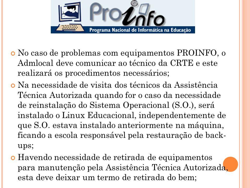 No caso de problemas com equipamentos PROINFO, o Admlocal deve comunicar ao técnico da CRTE e este realizará os procedimentos necessários; Na necessid