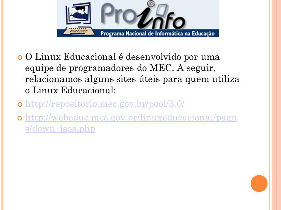 O Linux Educacional é desenvolvido por uma equipe de programadores do MEC. A seguir, relacionamos alguns sites úteis para quem utiliza o Linux Educaci