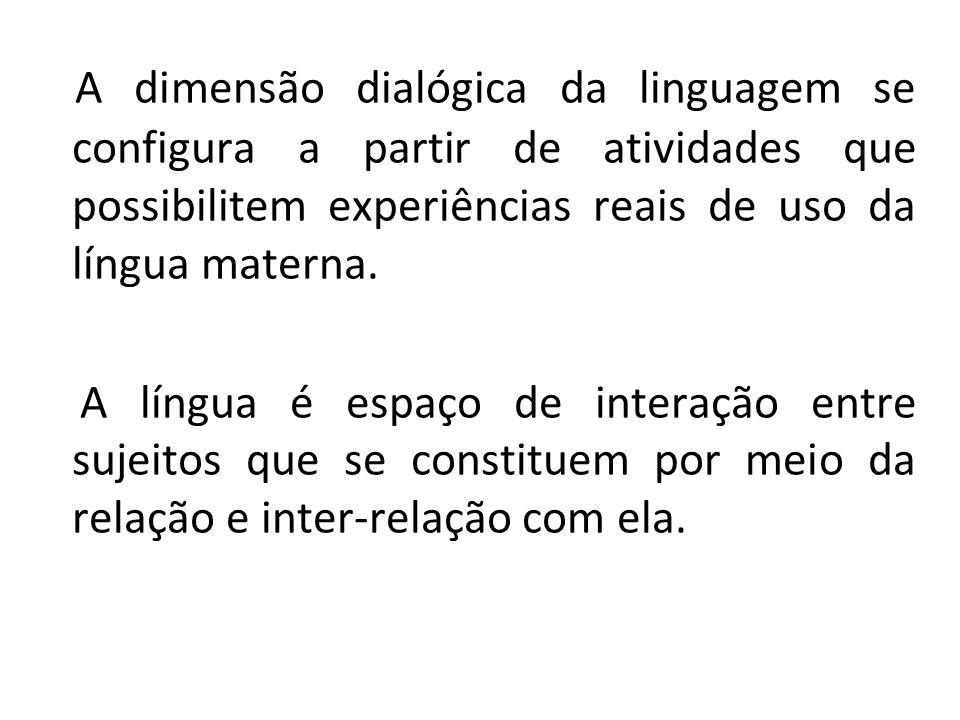 Os princípios metodológicos dão ênfase às experiências de uso concreto da língua valorizando o ambiente escolar como ambiente discursivo.