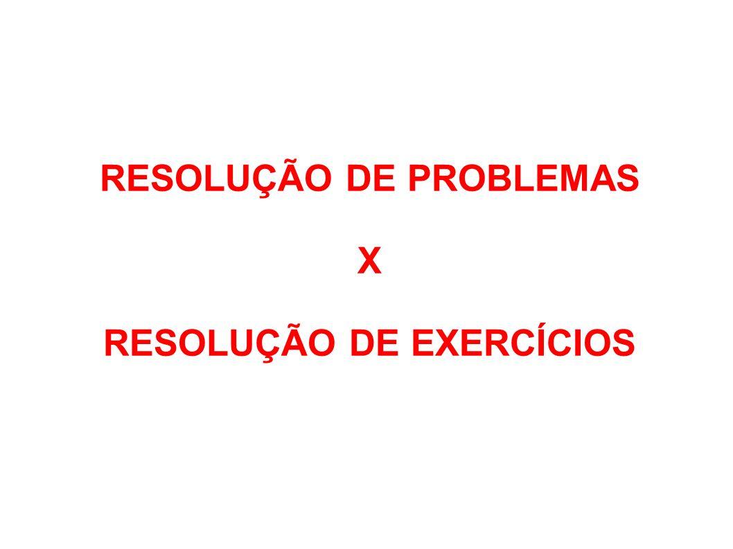 RESOLUÇÃO DE PROBLEMAS X RESOLUÇÃO DE EXERCÍCIOS