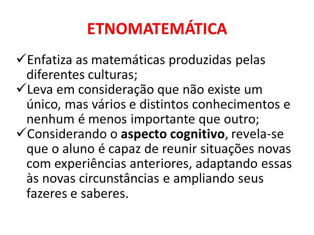 ETNOMATEMÁTICA Enfatiza as matemáticas produzidas pelas diferentes culturas; Leva em consideração que não existe um único, mas vários e distintos conh