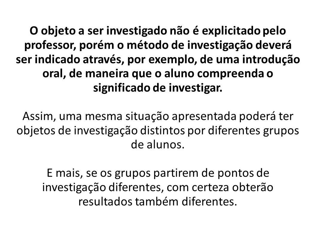 O objeto a ser investigado não é explicitado pelo professor, porém o método de investigação deverá ser indicado através, por exemplo, de uma introduçã