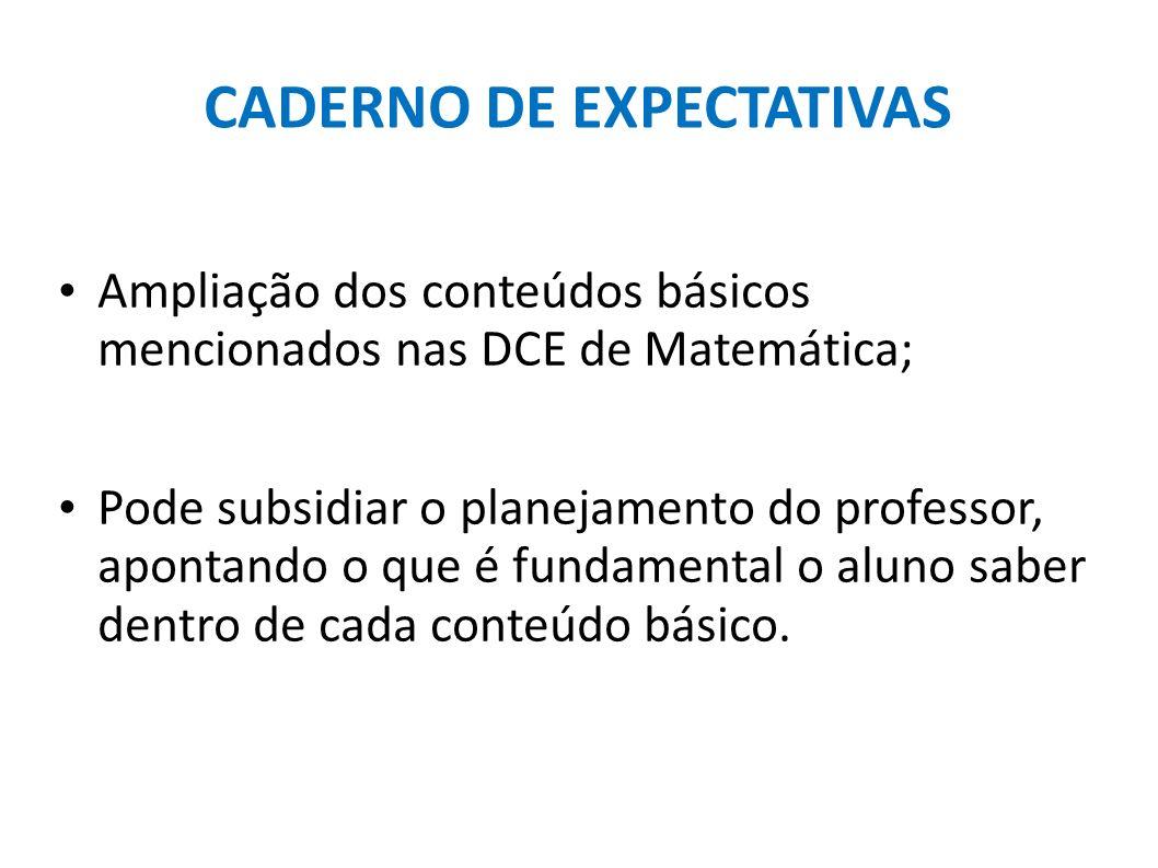 CADERNO DE EXPECTATIVAS Ampliação dos conteúdos básicos mencionados nas DCE de Matemática; Pode subsidiar o planejamento do professor, apontando o que