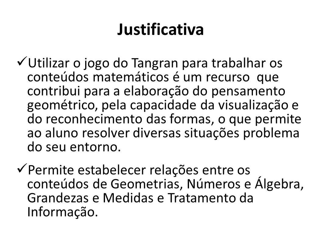 Justificativa Utilizar o jogo do Tangran para trabalhar os conteúdos matemáticos é um recurso que contribui para a elaboração do pensamento geométrico