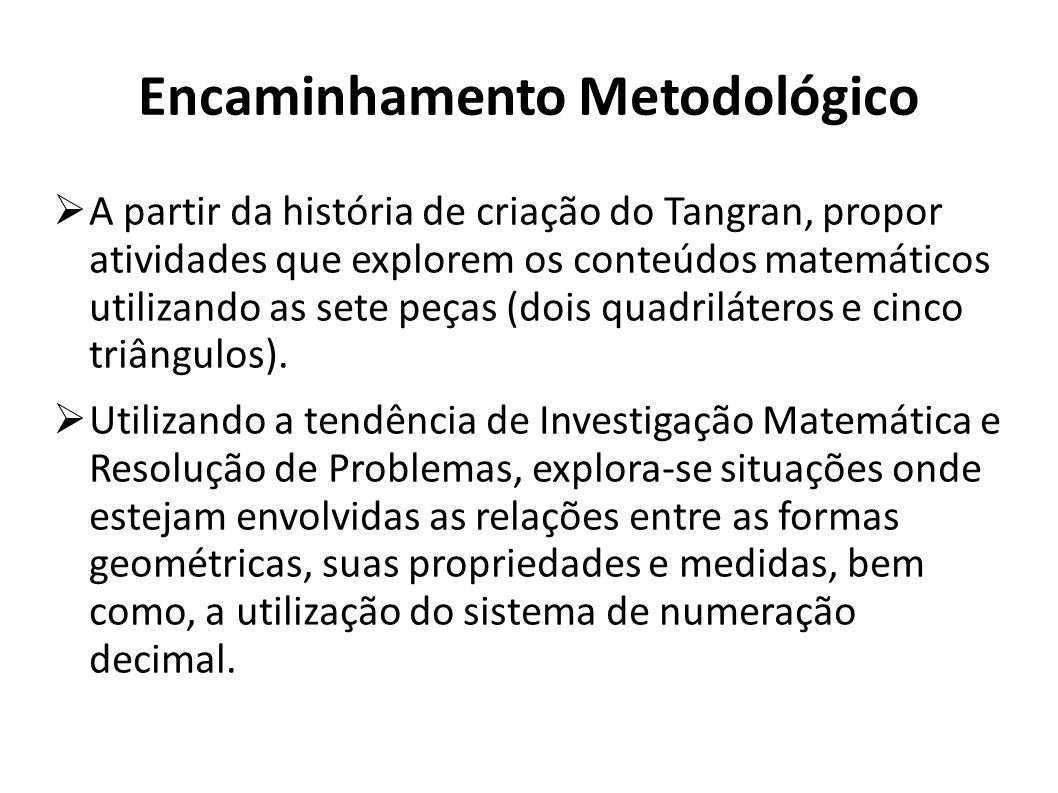 Encaminhamento Metodológico A partir da história de criação do Tangran, propor atividades que explorem os conteúdos matemáticos utilizando as sete peç