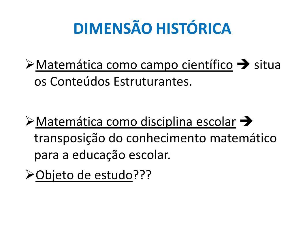 DIMENSÃO HISTÓRICA Matemática como campo científico situa os Conteúdos Estruturantes. Matemática como disciplina escolar transposição do conhecimento
