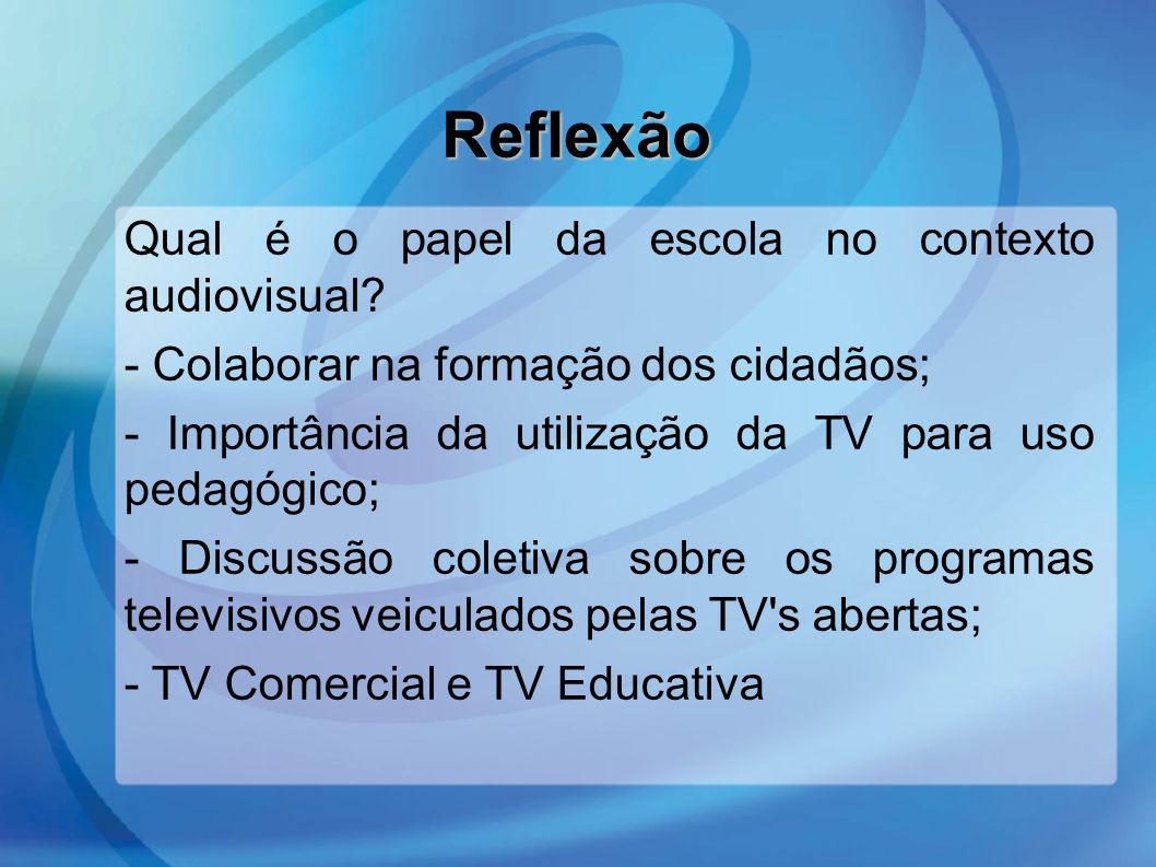 Reflexão Qual é o papel da escola no contexto audiovisual? - Colaborar na formação dos cidadãos; - Importância da utilização da TV para uso pedagógico