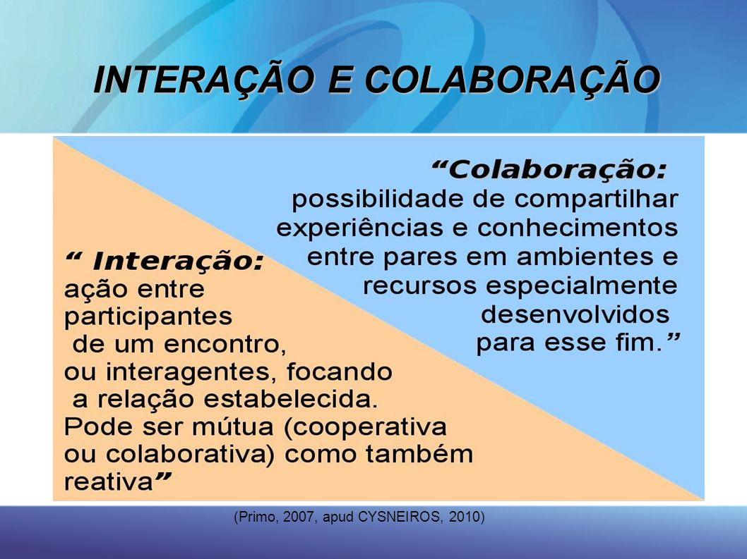 INTERAÇÃO E COLABORAÇÃO (Primo, 2007, apud CYSNEIROS, 2010)