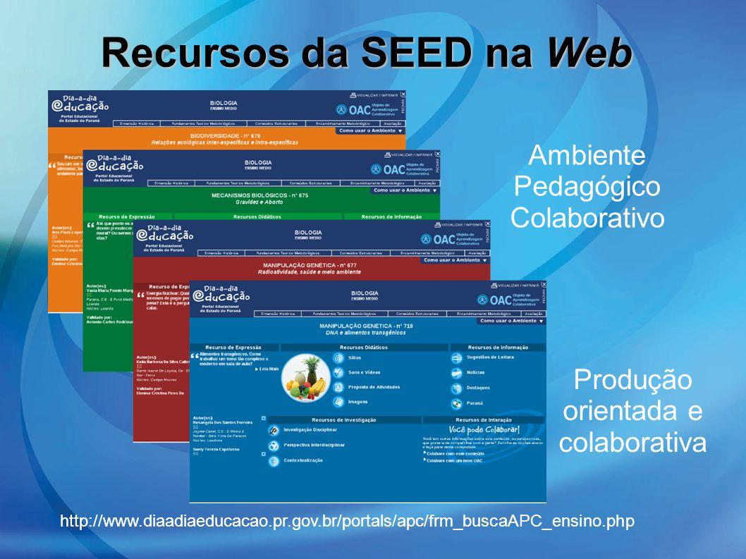 Ambiente Pedagógico Colaborativo Produção orientada e colaborativa Recursos da SEED na Web http://www.diaadiaeducacao.pr.gov.br/portals/apc/frm_buscaA