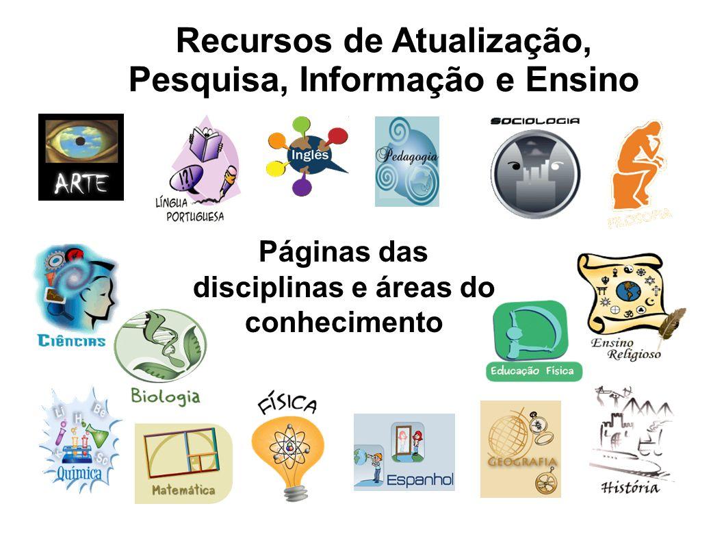 Recursos de Atualização, Pesquisa, Informação e Ensino Páginas das disciplinas e áreas do conhecimento