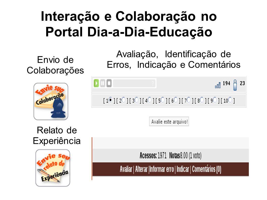 Interação e Colaboração no Portal Dia-a-Dia-Educação Avaliação, Identificação de Erros, Indicação e Comentários Envio de Colaborações Relato de Experi