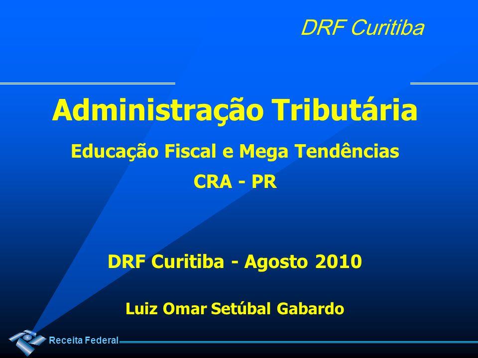 Receita Federal DRF Curitiba Contextualização da DRF Curitiba Arrecadação 2009: R$ 17,04 bilhões Tributos Internos:R$ 11,89 bilhões Contribuições Previdenciárias:R$ 5,15 bilhões +/- 70% na cidade de Curitiba +/- 56% do Estado do Paraná +/- 33% da 9ª RF (PR e SC) +/- 2,5% do Brasil É Pouco.