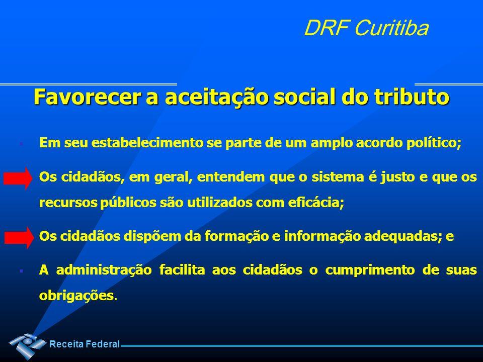 Receita Federal DRF Curitiba Favorecer a aceitação social do tributo Em seu estabelecimento se parte de um amplo acordo político; Os cidadãos, em gera