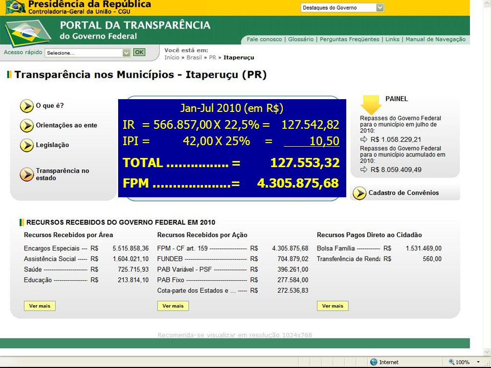 Receita Federal DRF Curitiba Jan-Jul 2010 (em R$) IR = 566.857,00 X 22,5% = 127.542,82 IPI = 42,00 X 25% = 10,50 TOTAL................ = 127.553,32 FP