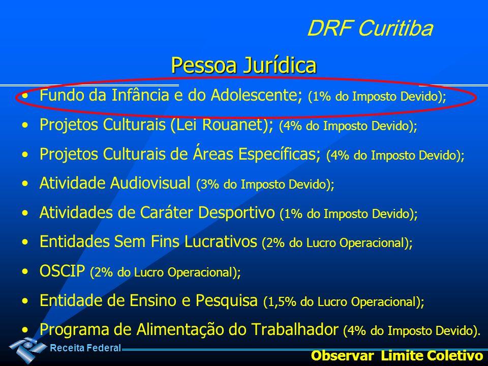 Receita Federal DRF Curitiba Pessoa Jurídica Fundo da Infância e do Adolescente; (1% do Imposto Devido); Projetos Culturais (Lei Rouanet); (4% do Impo